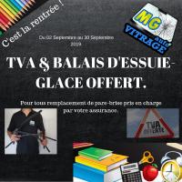 TVA & Balais d'essuie glace Offert pour tous remplacement de pare-brise.